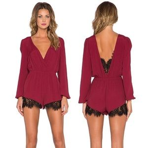Lovers + Friends Angel Baby red lace trim romper